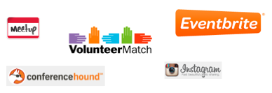 Volunteer Match, Conference Hount, Meetup, Event Brite, and Instagram on maps!